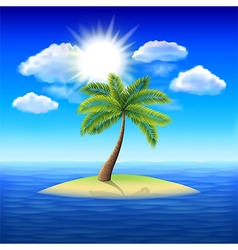 Palm tree on uninhabited island background vector image vector image