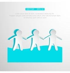 Paper people holding hands on white background vector
