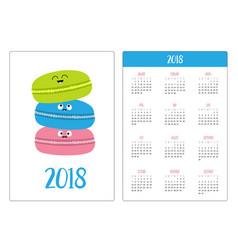 Pocket calendar 2018 year week starts sunday vector