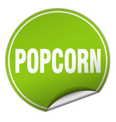 Popcorn round green sticker isolated on white vector