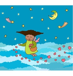 Postcard of flying little angel with hearts vector