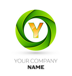 Realistic letter y logo in the colorful circle vector