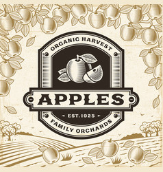 Retro apples label on harvest landscape vector