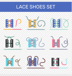 Shoe lacing ways transparent set vector