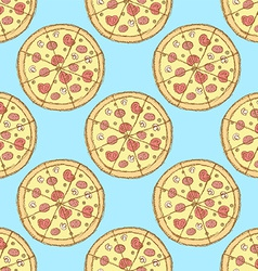 Sketch tasty pizza in vintage style vector image