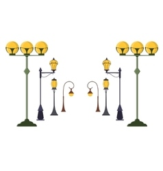 Street Lamp Post Set vector image