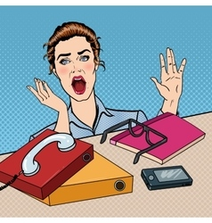 Stressed Business Woman at the Office Pop Art vector image