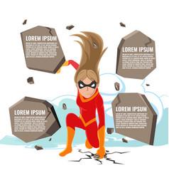 Superhero actions cartoon woman template vector