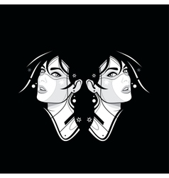 Two girl face on the black vector image