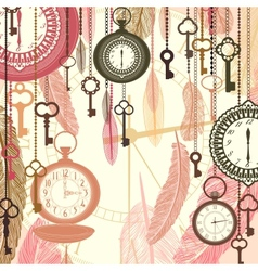 Vintage background with pocket watches and vector image
