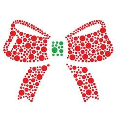 Christmas red and green bow icon made of circles vector