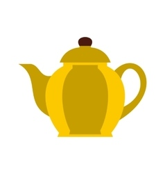 Yellow teapot icon flat style vector