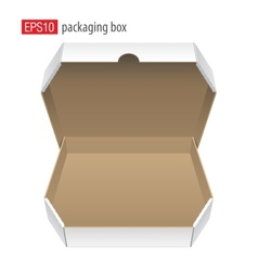 Realistic white opened package cardboard box for vector