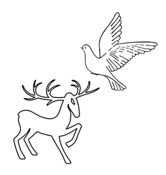 Outlined deer soaring dove set silhouettes vector