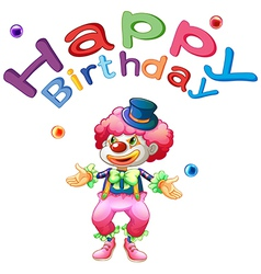 A happy birthday template with a clown vector image