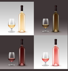 Set of wine bottles and glasses on background vector