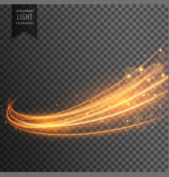 Transparent light effect with curve trail and vector