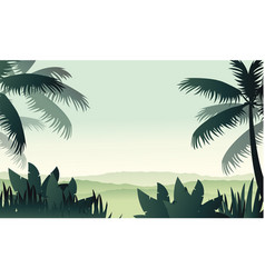 silhouette palm on forest scenery vector image