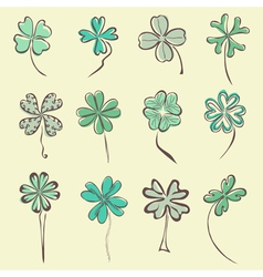 Set of 12 decorative clovers vector