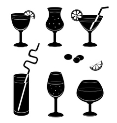 Silhouettes glasses for wine vector