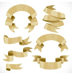 Set of festive golden ribbons various forms for vector