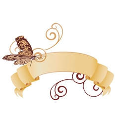 vector retro banner with butterfly vector image