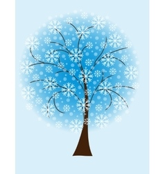 Winter tree from snowflakes vector