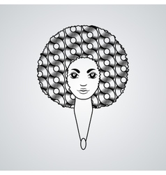 Portrait of a woman with luxuriant hair in the vector