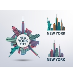 Set of nyc new york city icons logos vector