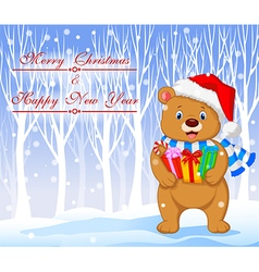 Cartoon bear holding gifts with winter background vector