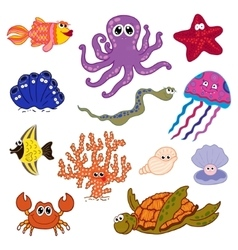 Set of marine life ocean fauna underwater vector