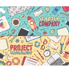 Set flat startup company project management vector