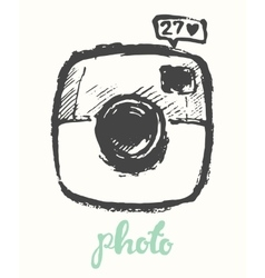 Hipster photo camera drawn vector