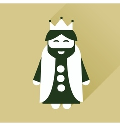 Flat icon with long shadow medieval king vector