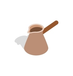 Brown coffee cezve icon isometric 3d style vector