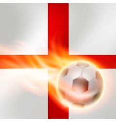 Burning football on england flag background vector