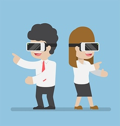 Businessman and woman playing with vr glasses vector image