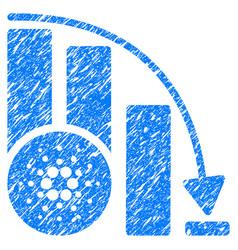 Cardano down chart icon grunge watermark vector