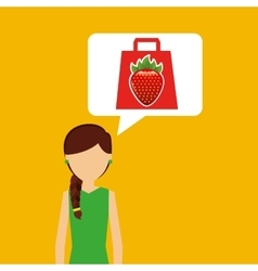Cartoon girl shopping strawberry fruit icon vector