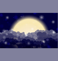 Cartoon night shining cloudy sky with moon vector
