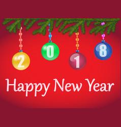 christmas balls on christmas tree branch vector image vector image