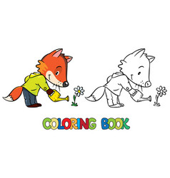 Coloring book of little funny fox watering flower vector