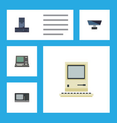 Flat icon laptop set of technology pc vintage vector