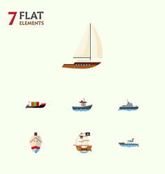 flat icon ship set of tanker delivery vessel and vector image vector image