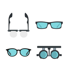 Glasses icon set flat style vector