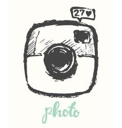 Hipster photo camera drawn vector image