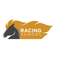 horse racing school logo label with animal vector image