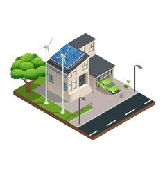 Isometric green eco house vector