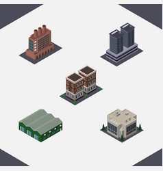 Isometric urban set of industry tower house and vector