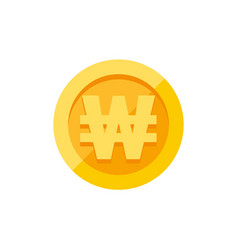 Korean won currency symbol on gold coin flat style vector